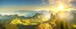 Autumn valley at sunrise in Alps