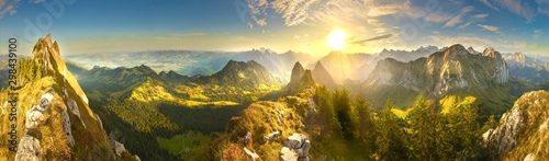 Fototapeta Great panoramic view of morning mountains in Switzerland with Lake Zürich and many tops in autumn obraz
