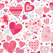 Cute Seamless Pattern With Hearts In Pink And Light Blue Colors On White Background. Patchwork Design. Beautiful Print For Valentines Day.