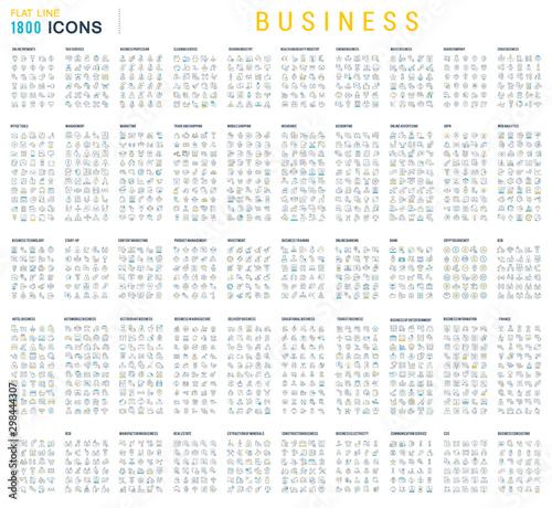 Fototapeta Collection of Linear Business Icons obraz na płótnie