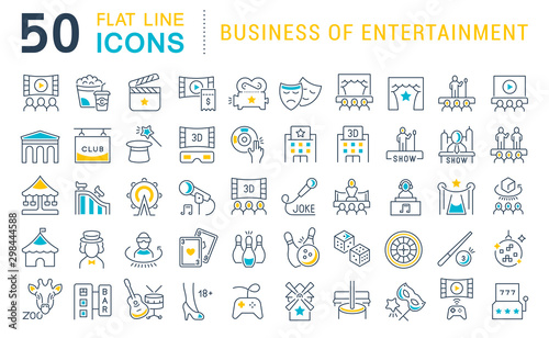 Fotomural  Set Vector Line Icons of Entertainment Business