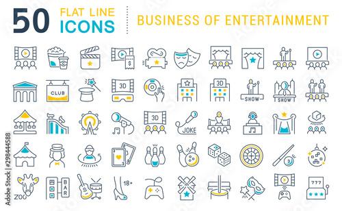 Set Vector Line Icons of Entertainment Business Fototapeta