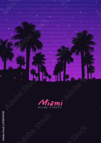 Foto auf Leinwand Violett Palm background 80 s, 90 s style. Vector landscape of sunset. Image of old, retro, vintage style. Party banner, invitation, flyer, futurism , advertising. Retro disco and dance.