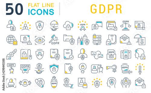 Cuadros en Lienzo  Set Vector Line Icons of GDPR