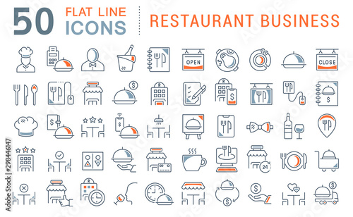 Photographie Set Vector Line Icons of Restaurant Business