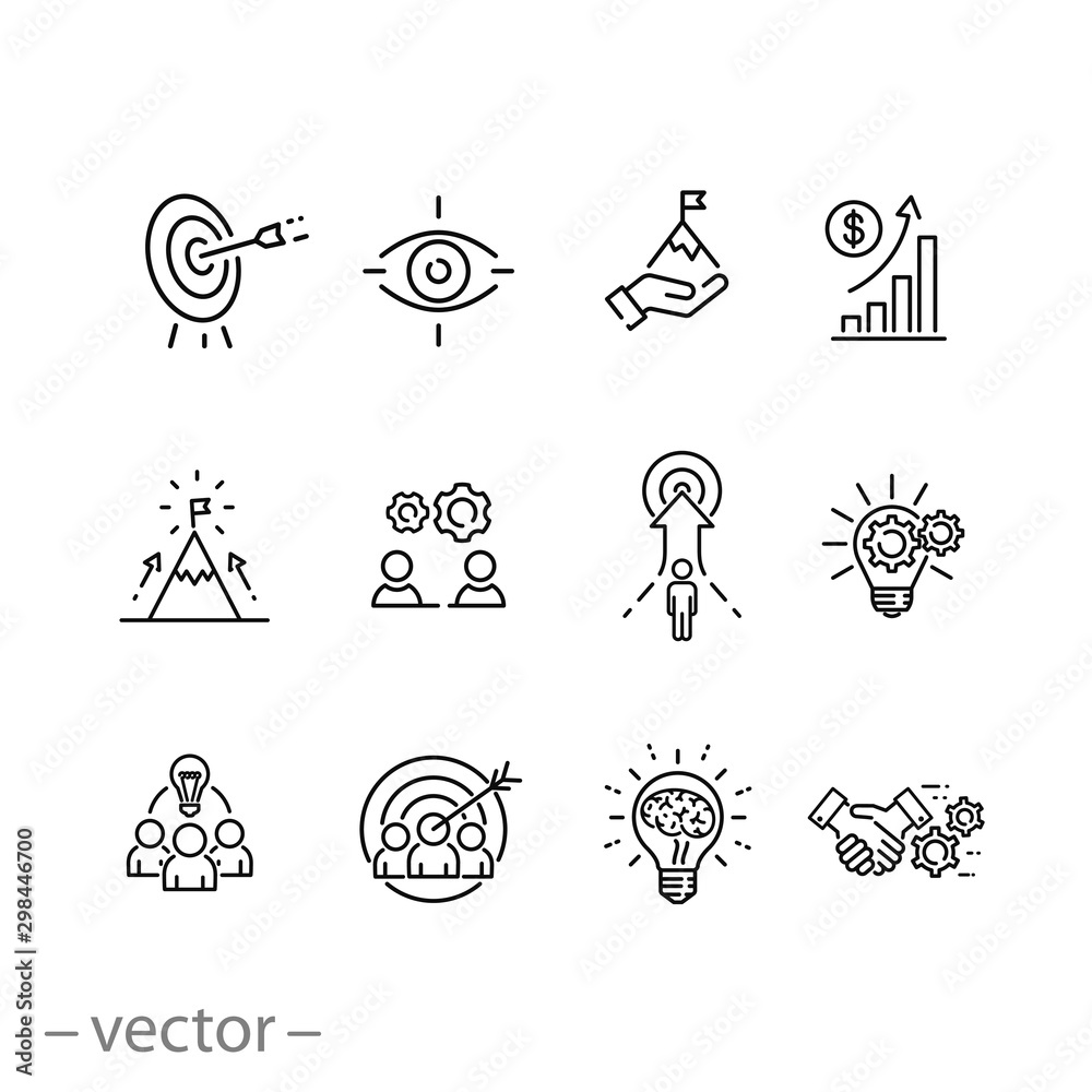Fototapeta mission vision integrity icons set, value innovation, company value statement, business purpose, thin line web symbols on white background - editable stroke vector illustration eps10