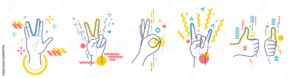 Fototapeta Gestures showing positive emotions: victory, recommendations, rock, greeting, approx. Flat / line style with colorful small geometric particles and dots. Set elements.
