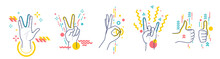 Gestures Showing Positive Emotions: Victory, Recommendations, Rock, Greeting, Approx. Flat / Line Style With Colorful Small Geometric Particles And Dots. Set Elements.
