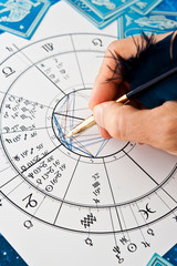 astrologer fortune teller with quill pen, horoscope, zodiac like astrology concept
