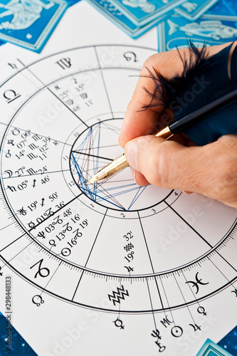 Photo astrologer fortune teller with quill pen, horoscope, zodiac like astrology conce