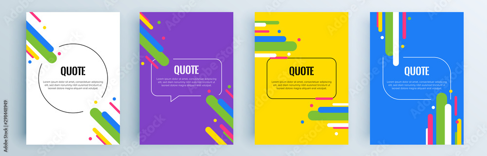 Fototapety, obrazy: Quote frames blank templates set. Text in brackets, citation empty speech bubbles, quote bubbles. Textbox isolated on color background. Vector illustration.