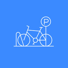 Bicycle Parking Icon, Thin Lin...