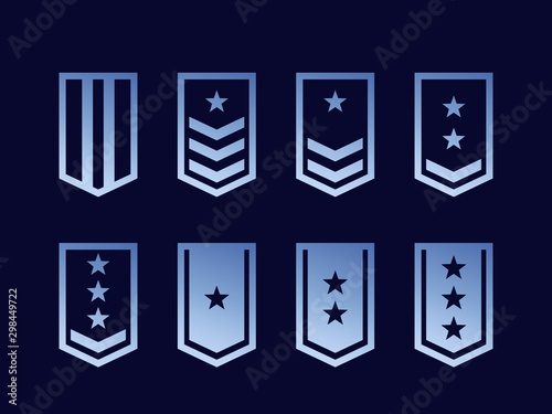 Fotografia Military ranks, army epaulettes vector set