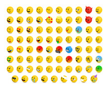 Left-Oriented Isolated Isometric Emojis, Emoticons. Vector Illustration