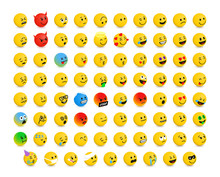 Right-Oriented Isolated Isometric Emojis, Emoticons. Vector Illustration