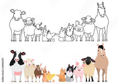Leinwand Poster farm animals in a row, paws around shoulders each other