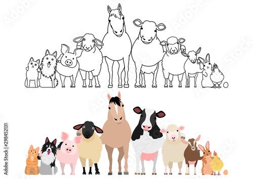 Obraz farm animals in a row, paws around shoulders each other - fototapety do salonu