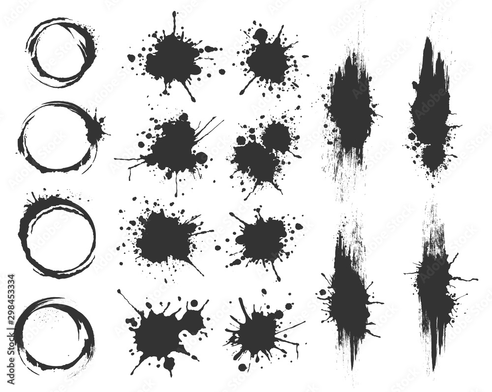 Fototapety, obrazy: Illustrated spots set bloat collection in black and white