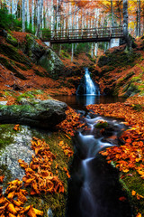 Fototapeta Wodospad Attractive autumn scenery, waterfall at small river in forest under wooden bridge,