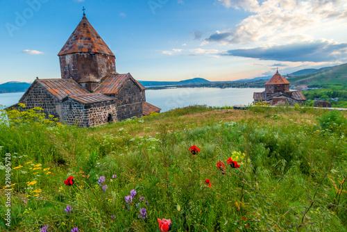 Ancient Christian monastery of Sevanavank and Lake Sevan at sunset, Armenia Canvas Print