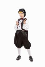 Little Nice Boy In A Penguin Costume