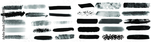 Fotografie, Obraz Black watercolor brush set for your design, vector.