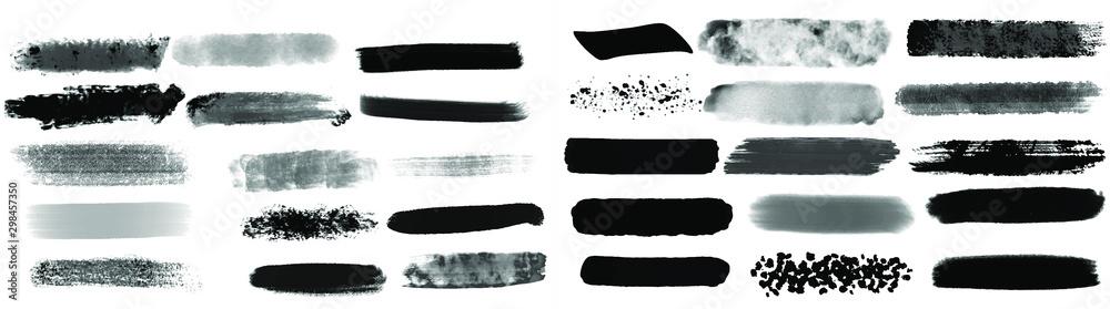 Fototapeta Black watercolor brush set for your design, vector.
