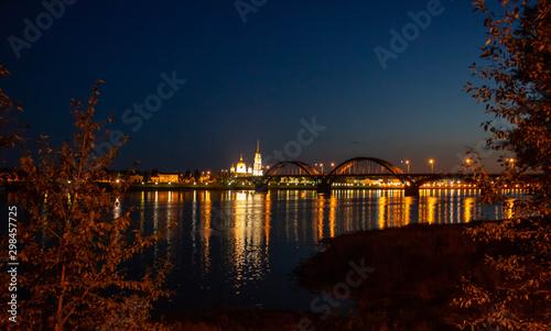 Spoed Fotobehang Oranje eclat City at night - blur photo,Bokeh background.Russia Rybinsk