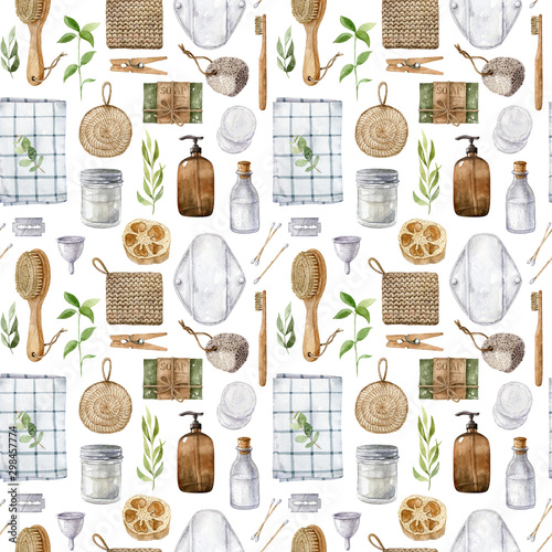 Tapety do łazienki  watercolor-seamless-pattern-with-zero-waste-bathroom-accessories-isolated-on-white-background-eco-friendly-aesthetic-waste-free-lifestyle-flat-lay-design-wooden-brushes-biodegradable-materials