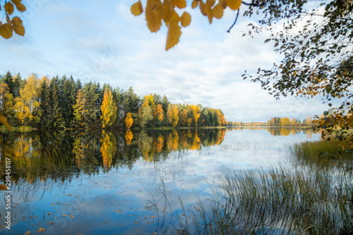 Foto auf Leinwand Himmelblau Beautiful autumn morning landscape of Kymijoki river waters. Finland, Kymenlaakso, Kouvola