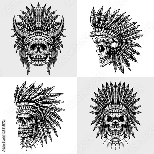 set skull indian collection vector illustration Canvas Print