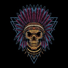 Skull Indian Triangle Badge Ve...