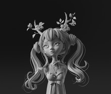 3d Digital Illustration Of Druid Girl With Two Ponytails Wearing Floral Antlers On Dark Background. Cartoon Character Long-haired Young Woman In Dress. Beauty Deer Girl. Concept Art Forest Princess.