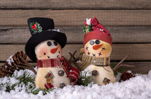 Two Holiday Snowmen On Snowy S...