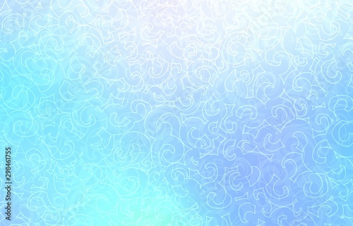 Icy twirls pattern. Frosty bright blue texture. Outline loops ornament.