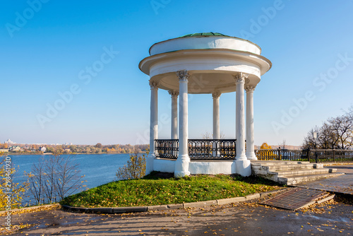 White air Rotunda on the high Bank of the Volga river in ancient russia town of Canvas Print
