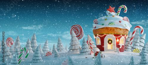 Amazing fairy Christmas house Tablou Canvas