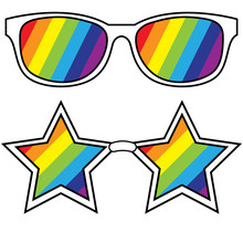 Cartoon Glasses Set Placed Separately On A White Background, Vector Illustration.