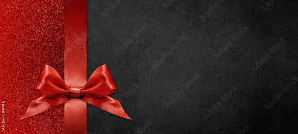 Fototapety, obrazy: gift card wishes merry christmas background with red ribbon bow on black shiny vibrant color texture template with blank copy space