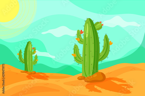 Garden Poster Green coral Seamless Wild West desert landscape background for game in cartoon style. Cartoon desert with cacti.