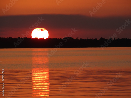 Orange Sunset Reflection on Calm River
