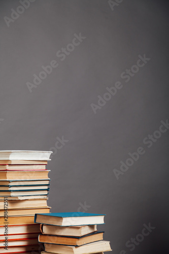 a lot of different educational books on a gray background - 298472551