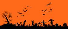 Halloween Silhouette Orange Zombies Bats
