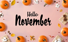 Hello November Message With Autumn Pumpkins With Gift Boxes