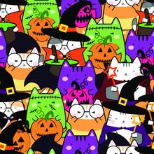 Seamless Pattern In Kawaii Cute Cat Costume For Halloween. Cartoon Animals Background, Vector Illustration