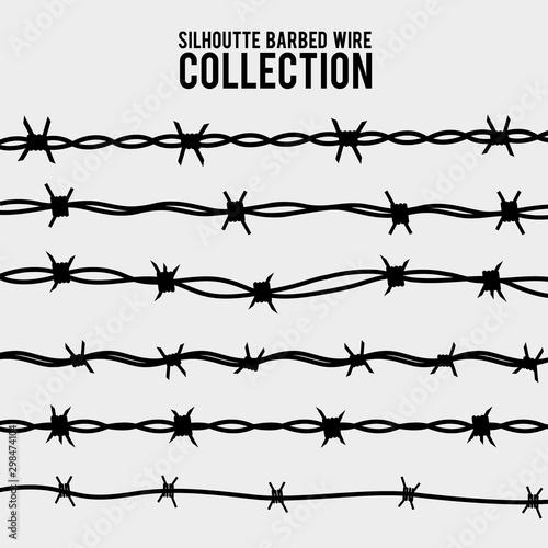 Fotografía  silhouette of the barbed wire