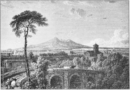 Foto auf AluDibond Grau engraving of Vesuvius smoking in the Gulf of Naples, Author of the archaeologist and engraver William Gell in the early 1800s