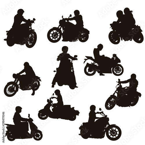 Motorcycle Rider Silhouettes Wall mural