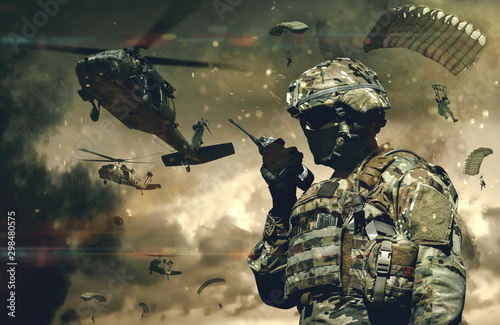 Military forces & helicopters between smoke and dust at battlefield Canvas Print