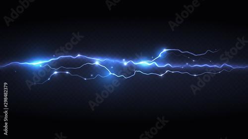 light blue lightning flash Canvas Print